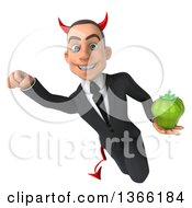Clipart Of A 3d Young White Devil Business Man Holding A Green Bell Pepper And Flying On A White Background Royalty Free Illustration