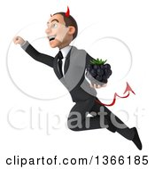 Clipart Of A 3d Young White Devil Business Man Holding A Blackberry And Flying On A White Background Royalty Free Illustration