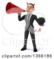 Clipart Of A 3d Young White Devil Business Man Holding A Blackberry And Using A Megaphone On A White Background Royalty Free Illustration