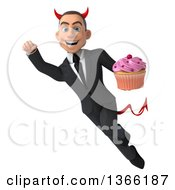Clipart Of A 3d Young White Devil Business Man Holding A Cupcake And Flying On A White Background Royalty Free Illustration