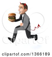 Clipart Of A 3d Young White Devil Business Man Holding A Double Cheeseburger And Running On A White Background Royalty Free Illustration