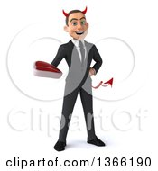 Clipart Of A 3d Young White Devil Business Man Holding A Beef Steak On A White Background Royalty Free Illustration
