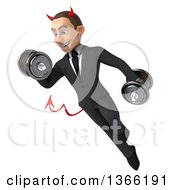 Clipart Of A 3d Young White Devil Business Man Working Out Flying And Doing Bicep Curls With Dumbbells On A White Background Royalty Free Illustration
