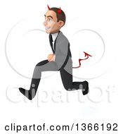Clipart Of A 3d Young White Devil Business Man Sprinting On A White Background Royalty Free Illustration