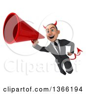 Clipart Of A 3d Young White Devil Business Man Flying And Using A Megaphone On A White Background Royalty Free Illustration