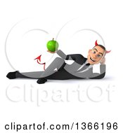 Clipart Of A 3d Young White Devil Business Man Holding A Green Apple And Resting On His Side On A White Background Royalty Free Illustration