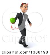 Clipart Of A 3d Young White Devil Business Man Holding A Green Apple And Walking On A White Background Royalty Free Illustration