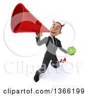 Clipart Of A 3d Young White Devil Business Man Holding A Green Apple And Using A Megaphone On A White Background Royalty Free Illustration