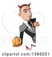 Clipart Of A 3d Young White Devil Business Man Holding A Navel Orange Around A Sign On A White Background Royalty Free Illustration
