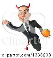Clipart Of A 3d Young White Devil Business Man Holding A Navel Orange And Flying On A White Background Royalty Free Illustration