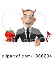 Clipart Of A 3d Young White Devil Business Man Holding A Strawberry Over A Sign On A White Background Royalty Free Illustration