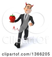 Clipart Of A 3d Young White Devil Business Man Holding A Strawberry And Walking On A White Background Royalty Free Illustration
