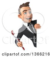 Clipart Of A 3d Young White Business Man Holding A Toothbrush Around A Sign On A White Background Royalty Free Illustration