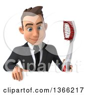 Clipart Of A 3d Young White Business Man Holding A Toothbrush Over A Sign On A White Background Royalty Free Illustration