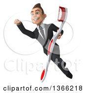 Clipart Of A 3d Young White Business Man Holding A Toothbrush And Flying On A White Background Royalty Free Illustration