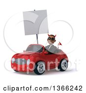 Clipart Of A 3d Young Black Devil Business Man Wearing Sunglasses Holding A Blank Sign And Driving A Red Convertible Car On A White Background Royalty Free Illustration