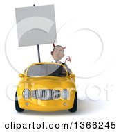 Clipart Of A 3d Young Black Devil Business Man Holding A Blank Sign And Driving A Yellow Convertible Car On A White Background Royalty Free Illustration