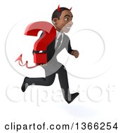 Clipart Of A 3d Young Black Devil Business Man Holding A Question Mark And Sprinting On A White Background Royalty Free Illustration