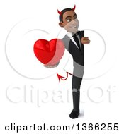 Clipart Of A 3d Young Black Devil Business Man Holding A Love Heart Around A Sign On A White Background Royalty Free Illustration