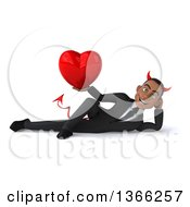Clipart Of A 3d Young Black Devil Business Man Holding A Love Heart And Resting On His Side On A White Background Royalty Free Illustration