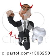 Clipart Of A 3d Young Black Devil Business Man Holding A Tooth And Flying On A White Background Royalty Free Illustration