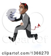 Clipart Of A 3d Young Black Devil Business Man Holding A Euro Currency Symbol And Sprinting On A White Background Royalty Free Illustration