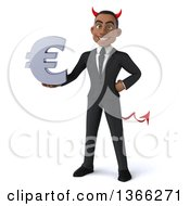 Clipart Of A 3d Young Black Devil Business Man Holding A Euro Currency Symbol On A White Background Royalty Free Illustration