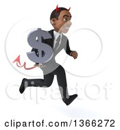 Clipart Of A 3d Young Black Devil Business Man Holding A Dollar Currency Symbol And Sprinting On A White Background Royalty Free Illustration