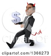 Clipart Of A 3d Young Black Devil Business Man Holding A Dollar Currency Symbol And Speed Walking On A White Background Royalty Free Illustration