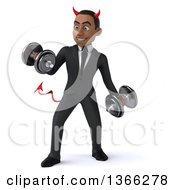 Clipart Of A 3d Young Black Devil Business Man Working Out Doing Bicep Curls With Dumbbells On A White Background Royalty Free Illustration