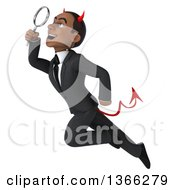 Clipart Of A 3d Young Black Devil Business Man Flying And Searching With A Magnifying Glass On A White Background Royalty Free Illustration