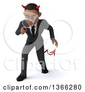 Clipart Of A 3d Young Black Devil Business Man Searching With A Magnifying Glass On A White Background Royalty Free Illustration