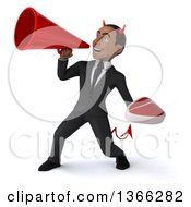 Clipart Of A 3d Young Black Devil Business Man Holding A Beef Steak And Using A Megaphone On A White Background Royalty Free Illustration