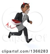 Clipart Of A 3d Young Black Devil Business Man Holding A Beef Steak And Sprinting On A White Background Royalty Free Illustration