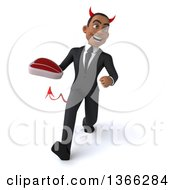 Clipart Of A 3d Young Black Devil Business Man Holding A Beef Steak And Speed Walking On A White Background Royalty Free Illustration