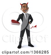 Clipart Of A 3d Young Black Devil Business Man Holding A Beef Steak On A White Background Royalty Free Illustration