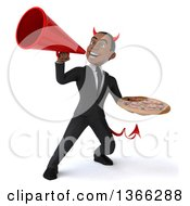 Clipart Of A 3d Young Black Devil Business Man Holding A Pizza And Using A Megaphone On A White Background Royalty Free Illustration