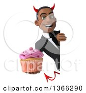 Clipart Of A 3d Young Black Devil Business Man Holding A Cupcake Around A Sign On A White Background Royalty Free Illustration