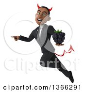 Clipart Of A 3d Young Black Devil Business Man Holding A Blackberry Flying And Pointing On A White Background Royalty Free Illustration