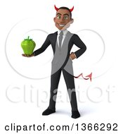 Clipart Of A 3d Young Black Devil Business Man Holding A Green Bell Pepper On A White Background Royalty Free Illustration