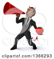 Clipart Of A 3d Young Black Devil Business Man Holding A Tomato And Using A Megaphone On A White Background Royalty Free Illustration