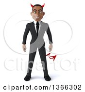 Clipart Of A 3d Young Black Devil Business Man On A White Background Royalty Free Illustration by Julos