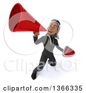 Clipart Of A 3d Arabian Business Man Holding A Beef Steak And Using A Megaphone On A White Background Royalty Free Illustration