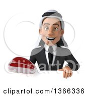 Clipart Of A 3d Arabian Business Man Holding A Beef Steak Over A Sign On A White Background Royalty Free Illustration