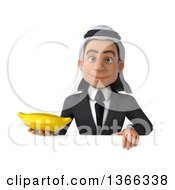 Clipart Of A 3d Arabian Business Man Holding A Banana Over A Sign On A White Background Royalty Free Illustration