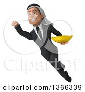 Clipart Of A 3d Arabian Business Man Holding A Banana And Flying On A White Background Royalty Free Illustration
