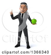 Clipart Of A 3d Arabian Business Man Holding Up A Finger And A Green Apple On A White Background Royalty Free Illustration