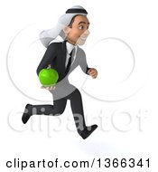 Clipart Of A 3d Arabian Business Man Holding A Green Apple And Sprinting On A White Background Royalty Free Illustration