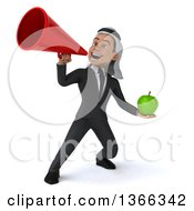 Clipart Of A 3d Arabian Business Man Holding A Green Apple And Using A Megaphone On A White Background Royalty Free Illustration