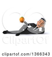 Clipart Of A 3d Arabian Business Man Holding A Navel Orange And Resting On His Side On A White Background Royalty Free Illustration